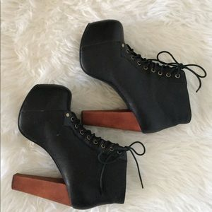 Jeffrey Campbell Black Leather Lita Boot, size 8